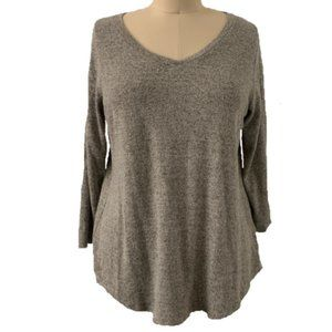 Moa Moa Gray Womens Marled Knit V-Neck Sweater